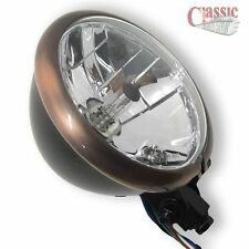 Motorcycle Bates Style Headlight Copper Effect Rim 5 3/4'' Bottom Mount