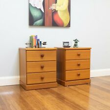Retro Vintage Pair Teak Parker Bedside Drawers / Tables - 3 Drawers