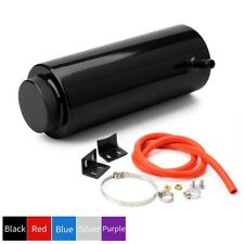 Black Aluminum Cylinder Radiator Overflow Reservoir Coolant Tank Can Universal