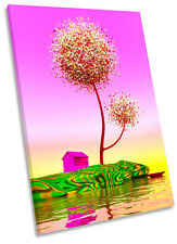 Abstract Pink Landscape Tree Framed CANVAS WALL ART Print Picture