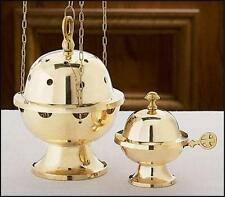 "Brass Censer Incense Burner & Boat Gift Set Church Chapel Quality 9""H by MRT"
