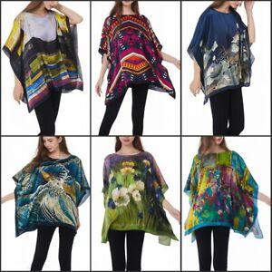 Damen 100% Seide Satin Bluse Sommer Seiden-Tunika Poncho Kunst-Druck Silk Shirt
