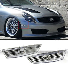 Fit 03-07 G35 Coupe Diamond Cut Chrome Housing Clear Bumper Side Marker Lights