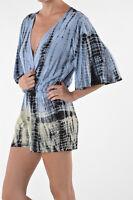 BNWT Womens Sizes 8,10 Blue Tie Dye Print Jumpsuit Mini Shorts Playsuit Romper