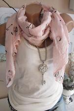 écharpe en soie tissu rose Flamants coton noble luxe Italie