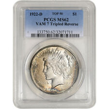 1922-D US Peace Silver Dollar $1 - PCGS MS62 VAM 7 Tripled Reverse Top 50