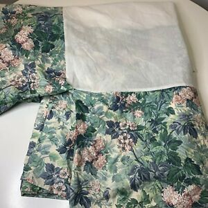 Laura Ashley bedskirt ruffle green pink floral print cotton poly blend usa made