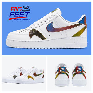"RARE Size 15 Nike Air Force 1 07 LV8 Multicolor ""Misplaced  Swoosh"" CK7214-101"
