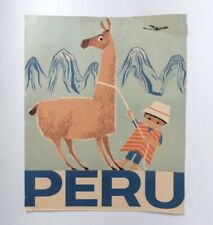 Vintage Peru Travel Poster Original Braniff Airways