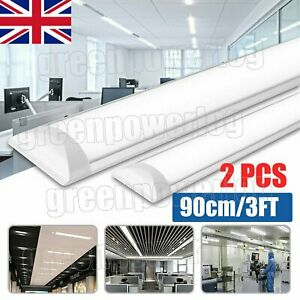 2 x 3FT 6500K 900MM LED BATTEN LIGHT STRIP LOW PROFILE SLIM FLUORESCENT FITTING