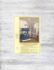 Antique 1920's Richardson Boynton BLUE Enamel Perfect Gas Kitchen Oven Range Ad