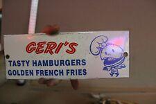 GERI'S TASTY HAMBURGERS DRIVE IN PORCELAIN METAL SIGN BELOIT ROCKFORD FREEPORT