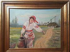 "Fine original art IMPRESSIONISM ""Woman working on the farm"" signed framed"