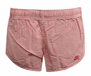 Nike Sportswear Womens Check Shorts Casual Red White 477057 601 RW63