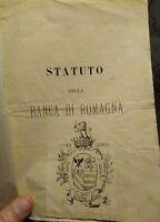 1872 RARISSIMO STATUTO DELLA BANCA DI ROMAGNA CON SEDE A LUGO