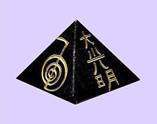 2 X Reiki Symbol Engraved Black Turmaline DR. USUI 25MM Pyramid