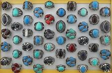 Jewelry Lots 5pcs Turquoise Stone Resin Big Old Age Colorful Fashion Rings
