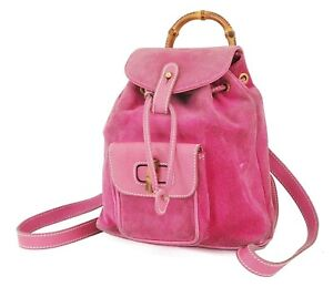 Authentic GUCCI Pink Suede and Leather Bamboo Handle Mini Backpack Bag #38743