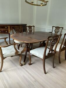 6 BAKER Furniture Stately Homes Chippendale Dining Chairs- 2 Arm + 4 Sidechairs