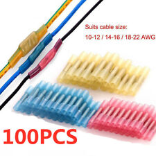 100x Heat Shrink Insulated Butt Crimp Terminals Wire Cable Connectors Electrical