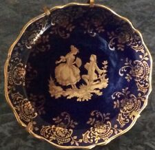 Limoges Small Gold & Royal Blue Plate