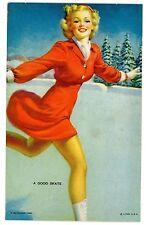Mutoscope Card-1940s YANKEE DOODLE GIRLS-A GOOD SKATE -Elvgrene Pin Up/Risque