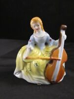 Classical Figurine of Girl Lady Playing Cello Porcelain Made In Occupied Japan