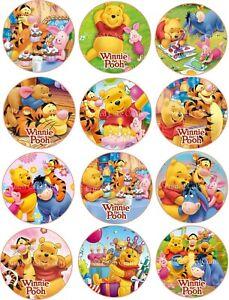 12 x 5cm Edible Winnie The Pooh *PRECUT* Icing Cupcake Toppers