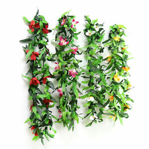 Artificial Fake Violet Orchid Flower Hanging Wall Rattan Basket Decor Outdoor H