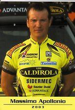 CYCLISME carte cycliste MASSIMO APOLLONIO équipe VINI CALDIROLA 2003