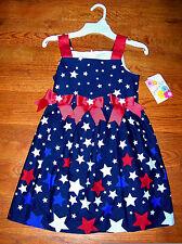 New! Girls JESSICA ANN Red White Blue Patriotic America Star Stripe Dress Size 4