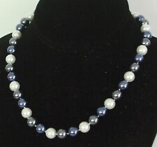"10MM Black/Blue/White South Sea Shell Pearl Necklace 18"" NEW (in silk gift bag)"