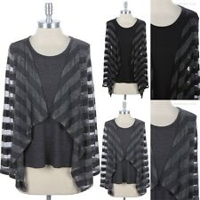 MESH Striped Sheer Long Sleeve Ruffled Draped Top Round Neck See Through S M L