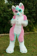 Halloween Pink Long Fur Fox Wolf Fursuit Mascot Costumes Blue Adults Outfits