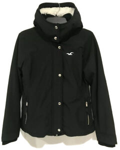 Hollister Women's All-weather Stretch Sherpa-lined Jacket Black New with Tags