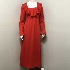 Vintage Mid Century Womens Maxi Dress Junior Sixes 13 Red Ruffle Long 60's