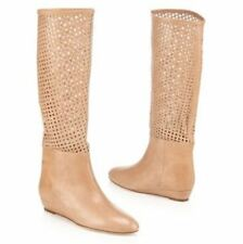 NEW Loeffler Randall Beige Perforated Leather Boots Size 7.5