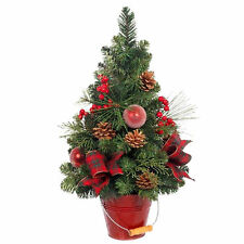 Decorated Christmas Tree with Red Berries & Real Pine Cones / Mixed Greens