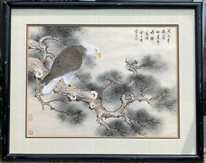 Fine Old Chinese Majestic Eagle Signed Ink and Watercolor Painting