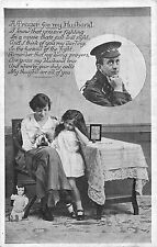 POSTCARD  MILITARY  WWI  SENTIMENTAL    A  Prayer  for  my  Husband