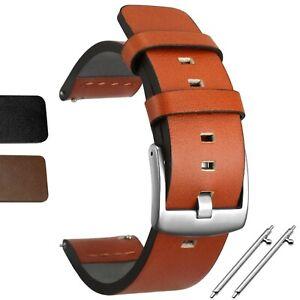 18 | 20 | 22 | 24 mm ECHTLEDER Uhrenarmband Braun Schwarz Ersatz Lederband Basic