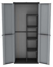 Armario Resina Exterior 2 Puertas 4 Estantería + Escoba 68X37X164H CM