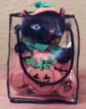 Barbie Pals Black Cat in Pumpkin with Bag by Mattel Euc