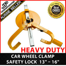 "Heavy Duty 13"" – 16"" Steel Car Wheel Clamp Safety Lock Trailer Caravan"