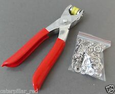 Prong Ring Snap Fastener Pliers Stud Press Plus 25 Nickel Sew Buttons Silver