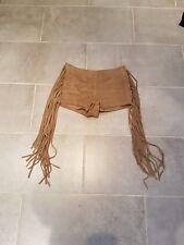 Topshop Genuine Suede Leather Camel Beige High Waisted Tassel Fringe Shorts
