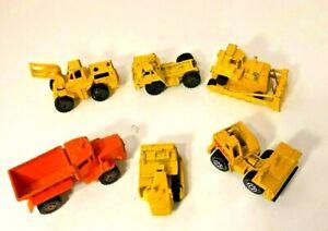 Lot 6 Vtg Hot Wheels Matchbox Car Yellow Earth Mover Bulldozer Dump Truck Loader