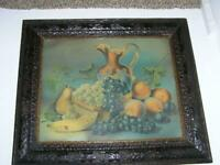 Antique Original Oak carved Frame Nature's Goodies Fruit Still Life Print 27""