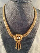 Simply Stunning AB Rhinestone Mesh Vintage Necklace Mint Cond Box C