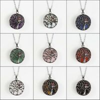 Natural Gemstones Tibetan Silver Owl Tree of Life Reiki Chakra Pendant Necklace